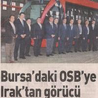 Bursa'daki OSB'ye Irak'tan görücü